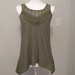 Olive tunic with lace neckline and back